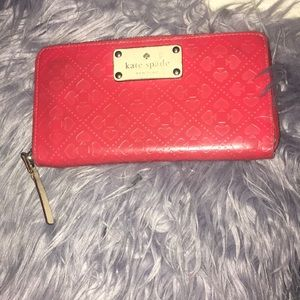 Kate spade red zip around wallet